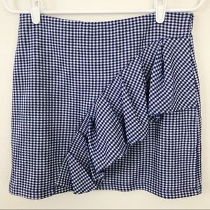 Topshop blue and white checkered skirt